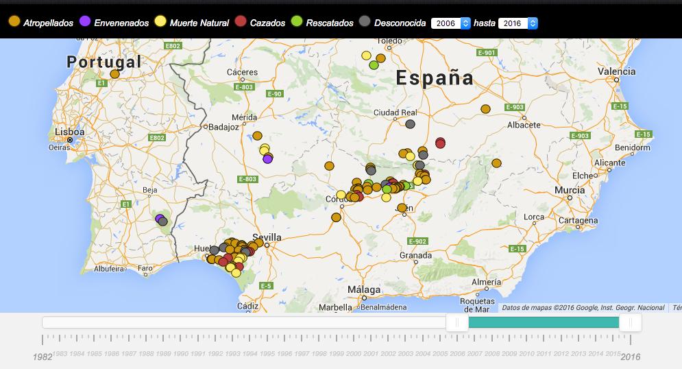 Mapa de causas de muerte del Lince ibérico filtrado entre 2016 y 2016